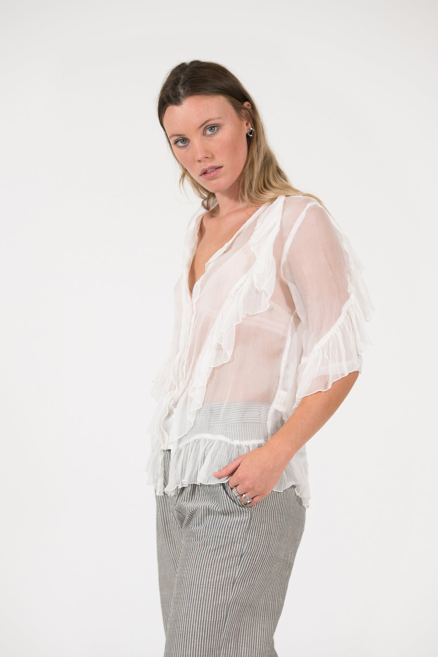 white silk chiffon Paris Frill Top