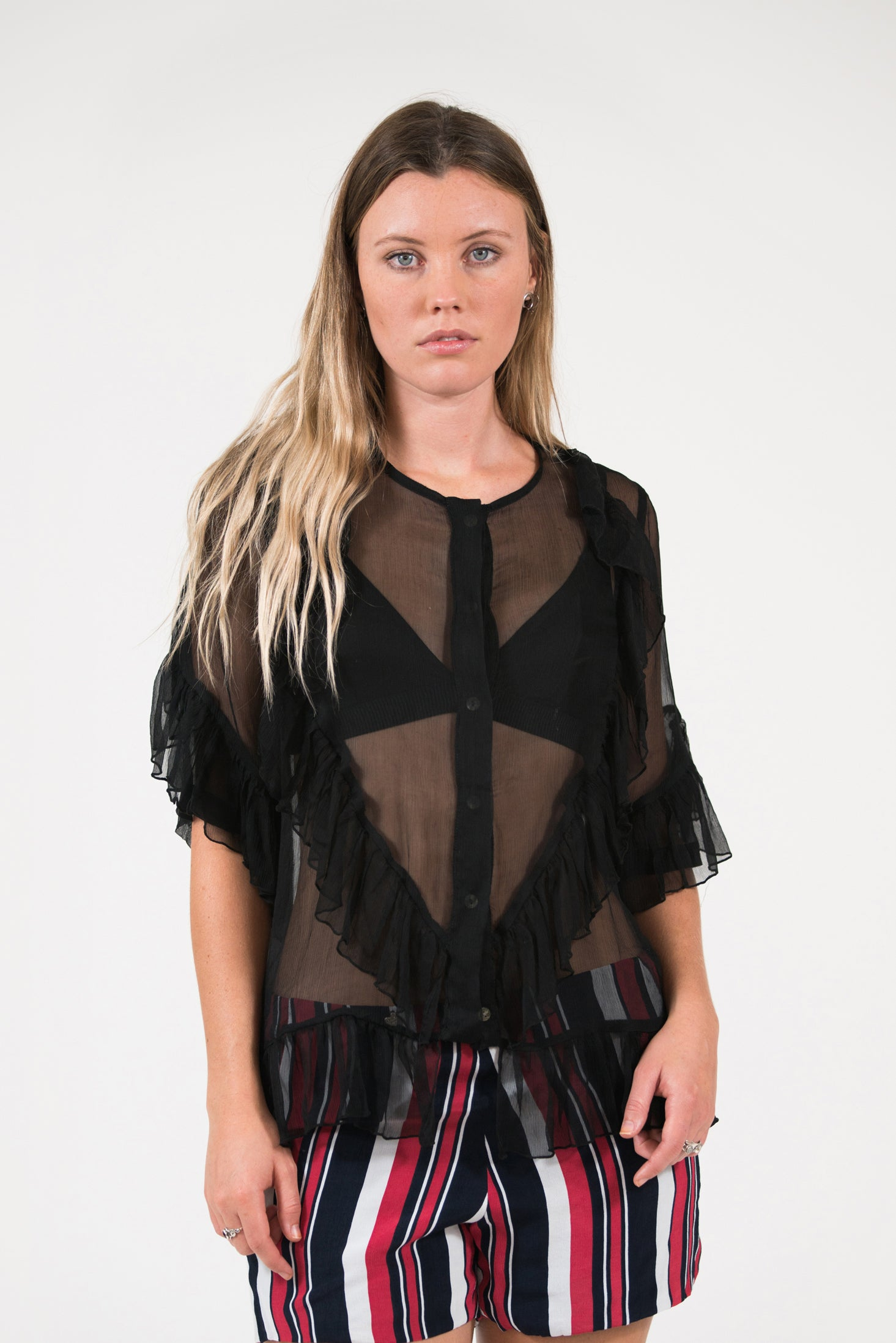 silk chiffon black Paris Frill Top