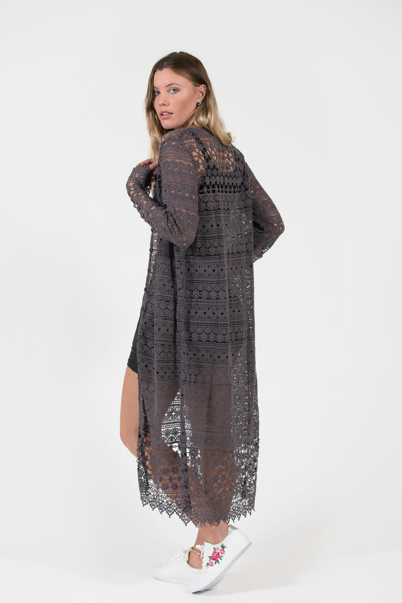 Quinns crochet lace over-dyed long cardigan dressy easy stylish charcoal