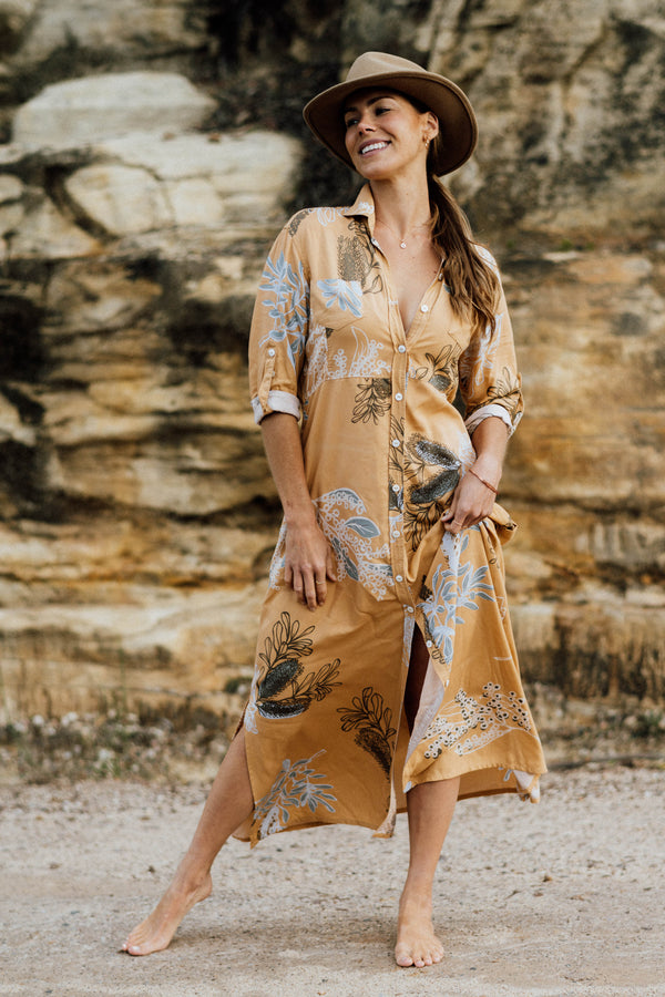 George Dress - Australis Print Ochre