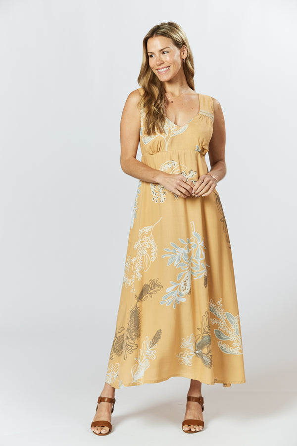Gracelen Dress - Australis Print Ochre