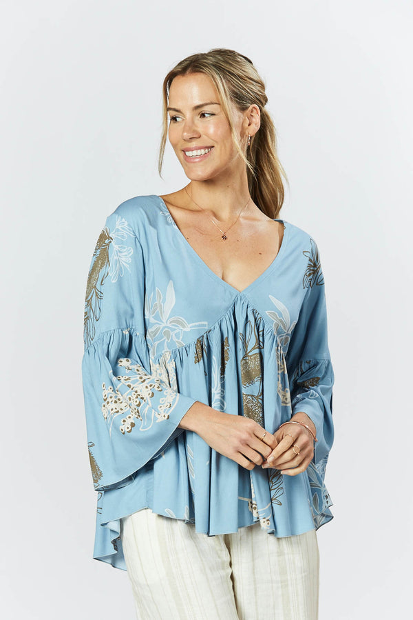 Goldie Top - Australis Print Dusk Blue
