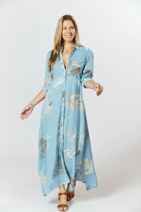 George Dress - Australis Print Dusk Blue