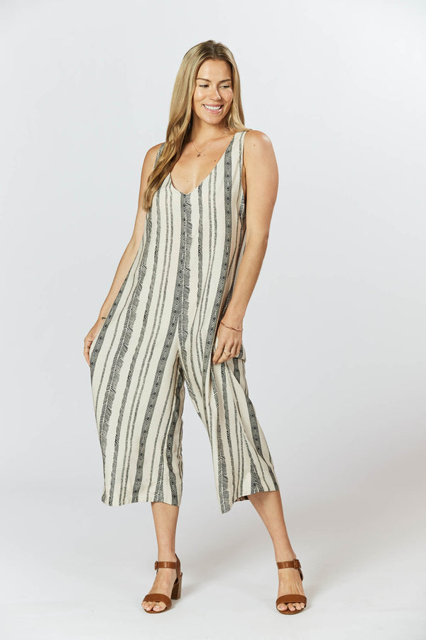 Mistle Jumpsuit - Seashell Feather Stripe