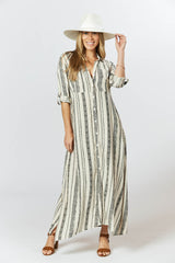 George Dress - Seashell Feather Stripe