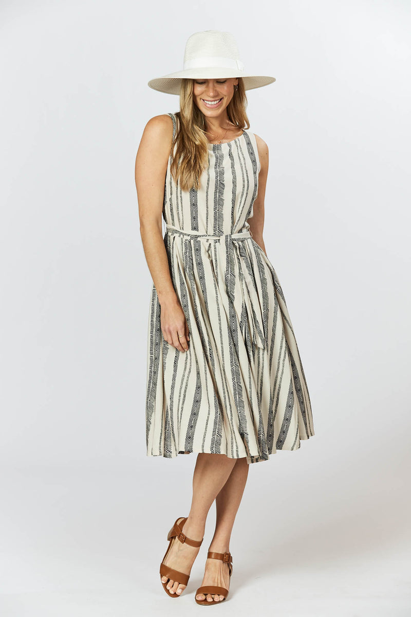 Isabella Dress - Seashell Feather Stripe