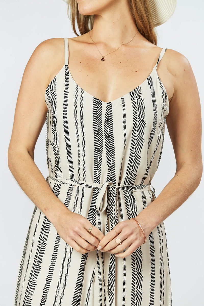 Melody Jumpsuit - Seashell Feather Stripe