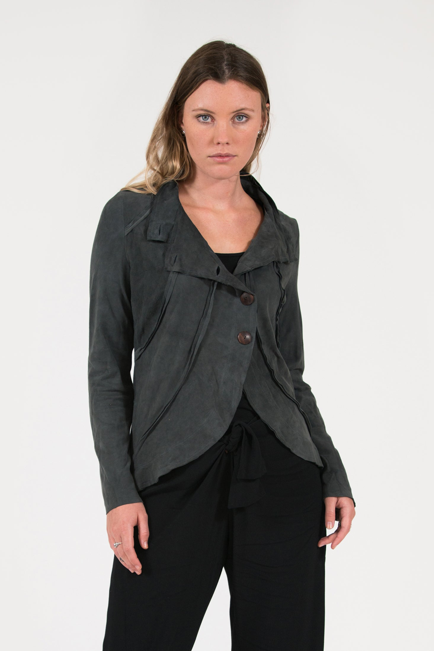 soft suede charcoal leather jacket with wooden buttons