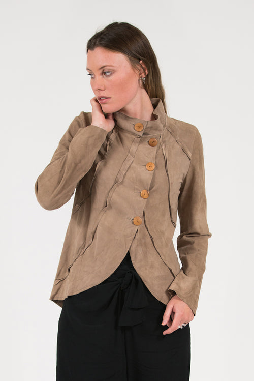 soft lambskin suede jacket with wooden buttons