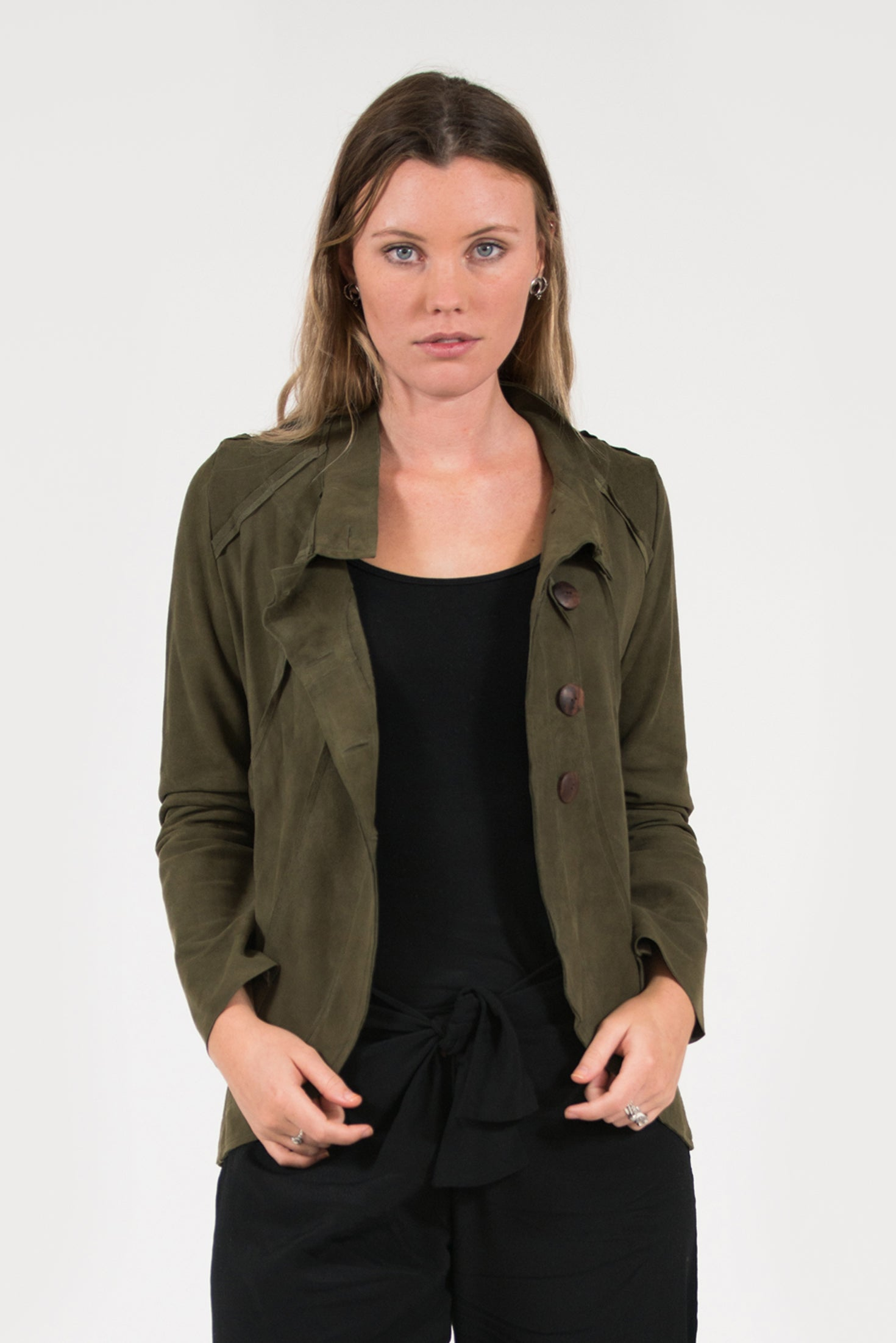 soft suede olive leather jacket with wooden buttons