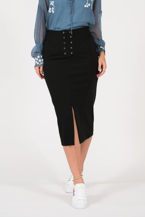 Ponti stretchy skirt with eyelets and waistband