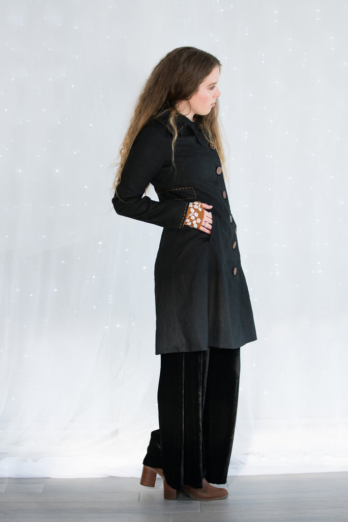 button up coat with wooden buttons and printed lining