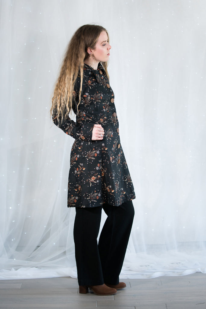 Midnight yardage printed coat with wooden buttons