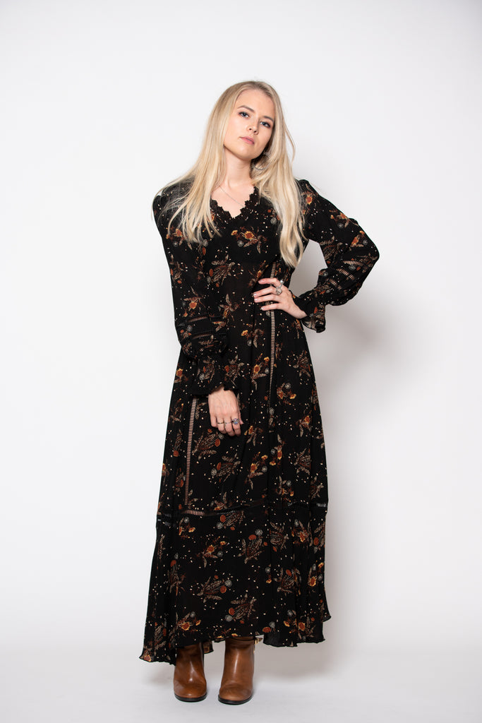 Frederick Street Dress -Midnight print