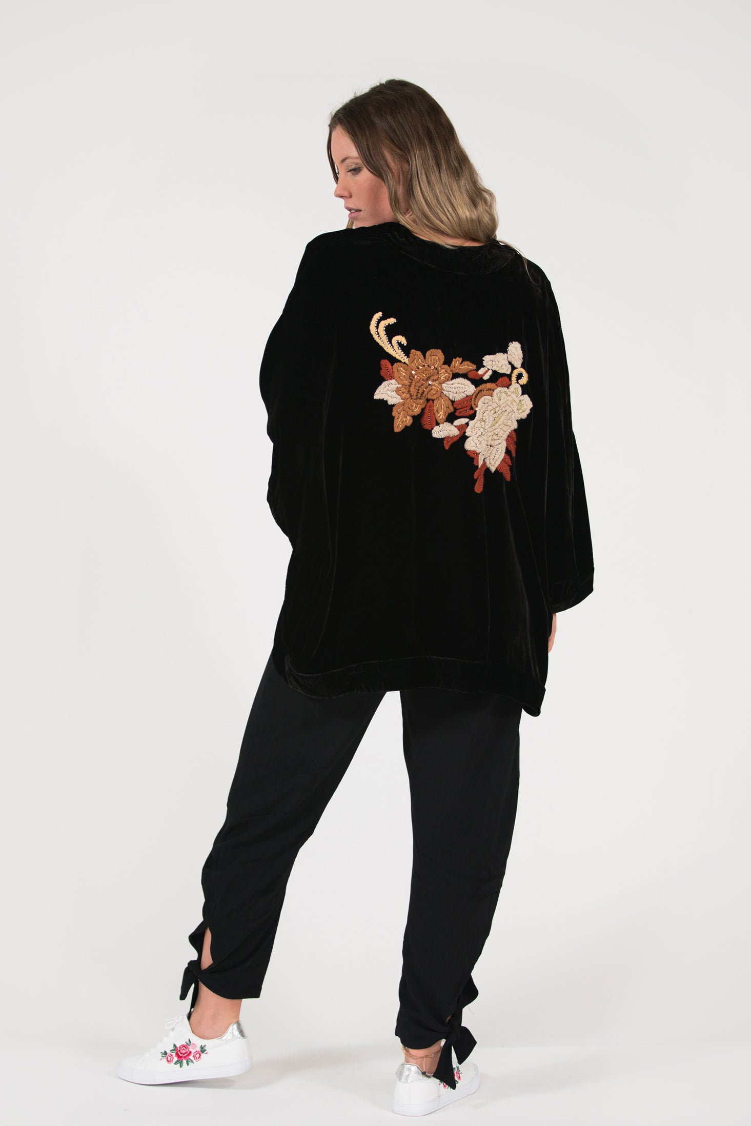 velvet embroidered kimono wrap jacket beaded