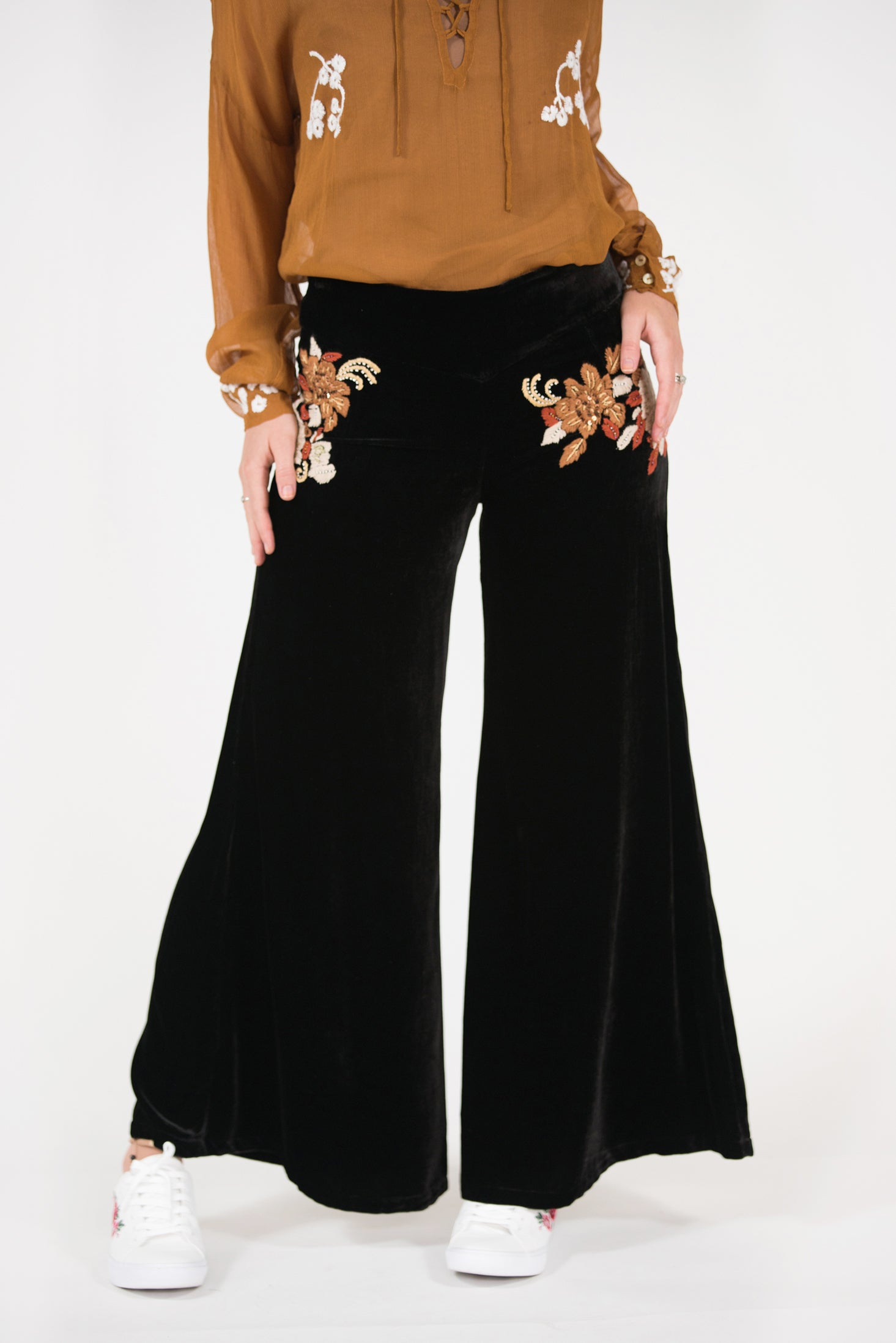 velvet embroidered beaded wide leg fixed waist pant