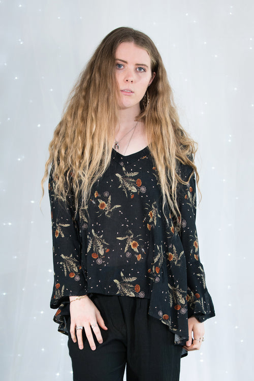 Midnight printed long sleeve top with ties