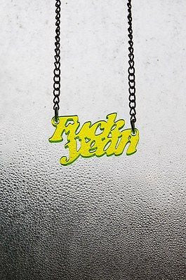 Fluorescent green acrylic 'Fuck Yeah' necklace