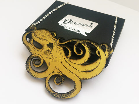 Gold acrylic octopus necklace