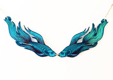 Siamese fighting fish necklace.