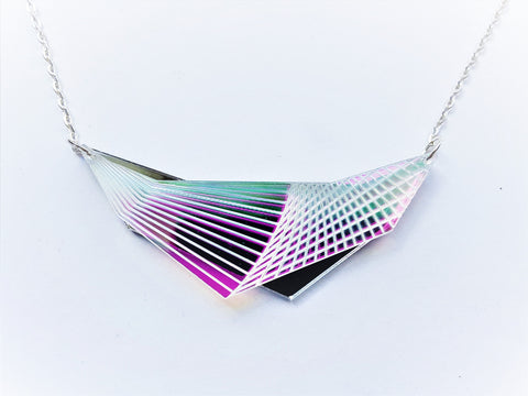 Outrun aesthetic graphic necklace.