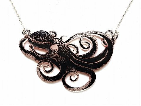 Double sided acrylic octopus necklace, black side.