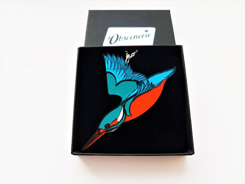 Diving Kingfisher Pendant or Brooch