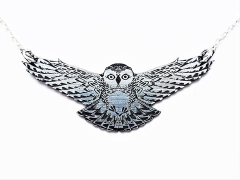 Silver Swooping Snowy Owl Necklace