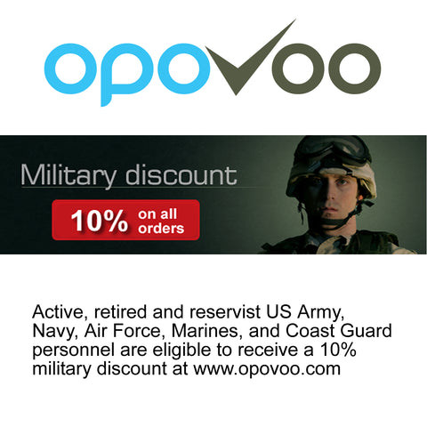 Military Personnel Save 10% On all Orders at Opovoo.com