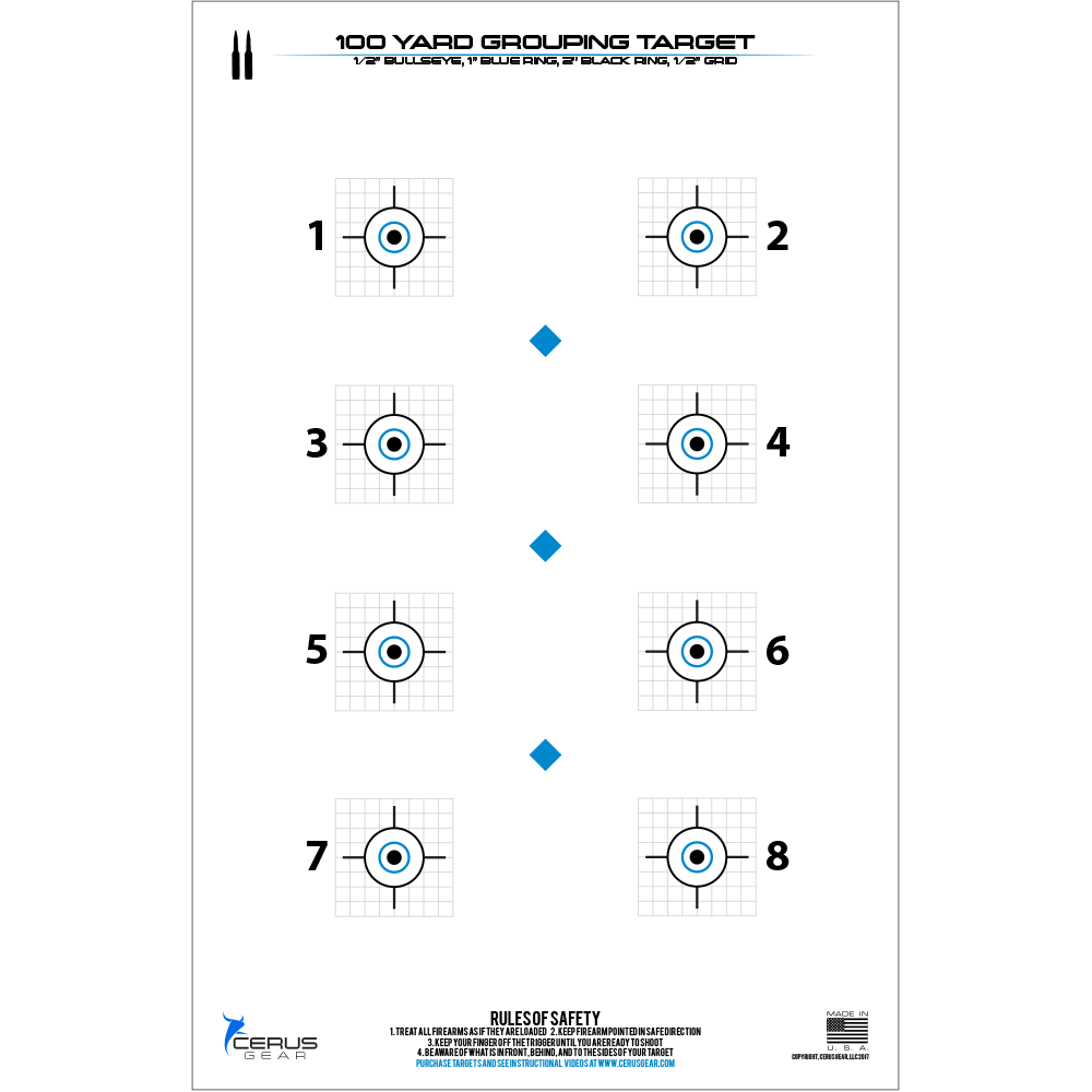 100 Yard Precision Rifle Target: 10 Pack