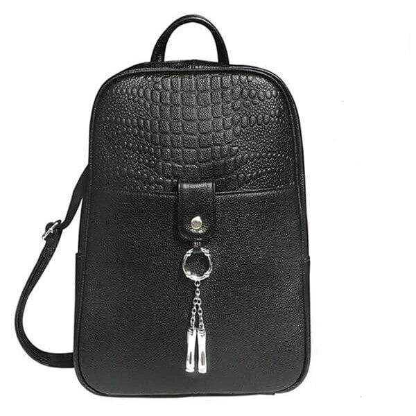 Black Cowhide Leather CCW Backpack