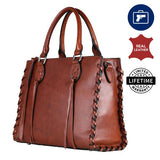 Emma Concealed Carry Full Grain Leather Satchel