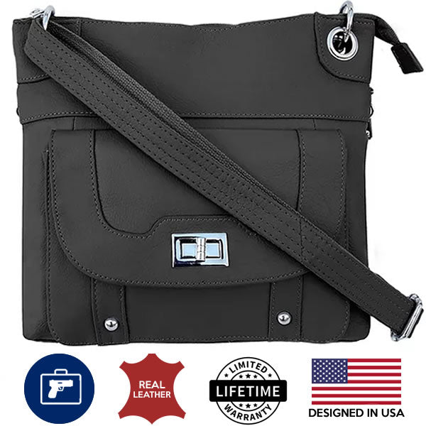 Leather Concealment Crossbody Bag black