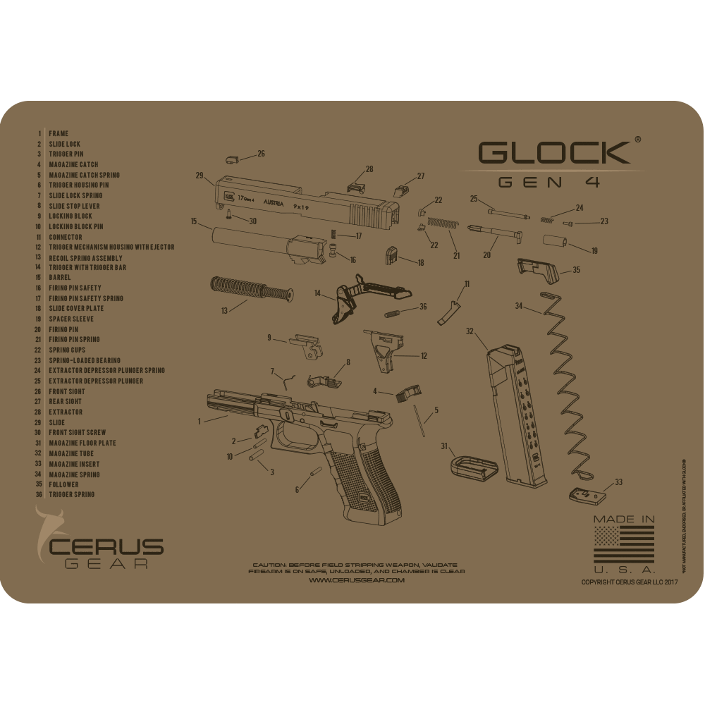 BEST GLOCK GEN 4 PISTOL SCHEMATIC TACTICAL BROWN