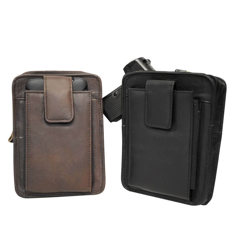 Leather Gun Belt Pouch With Clip