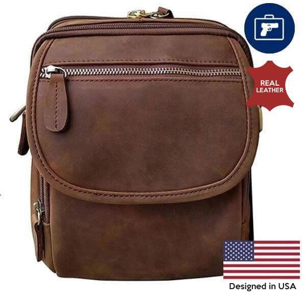 Leather Concealment Crossbody Bag brown