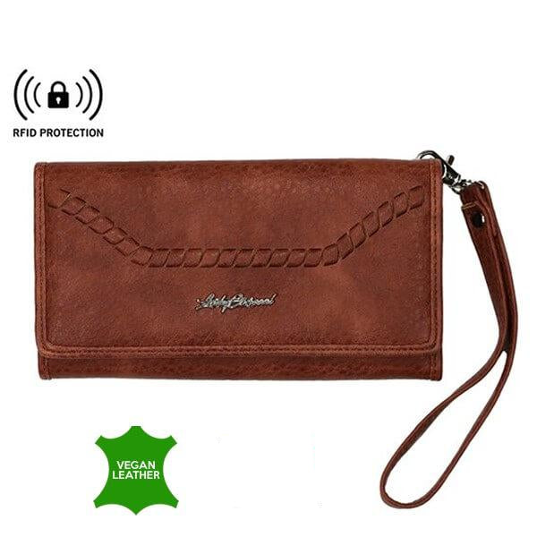 Morgan RFID Blocking Multi-Card Clutch Wallet Mahogany