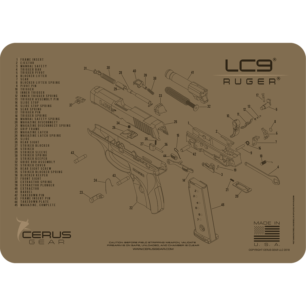 Ruger® LC9® Schematic ProMat: Clean Your CCW Like a Pro | Opovoo