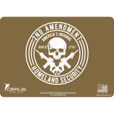 COYOTE TAN SECOND AMENDMENT SKULL CLEANING MAT