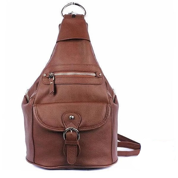 Snap Buckle Concealment Backpack brown