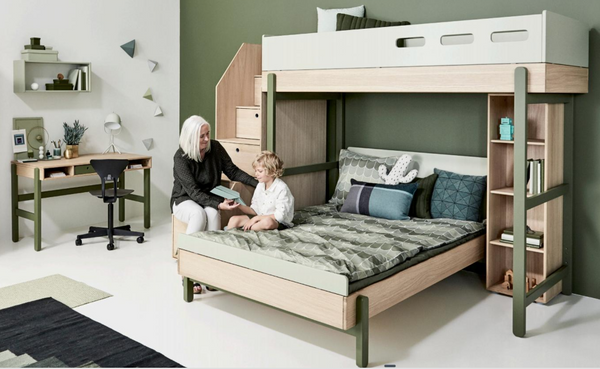 Flexa Popsicle  Highbed and double bed with steps.