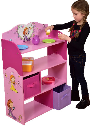 Princess bookshelf with 2 fabric bins