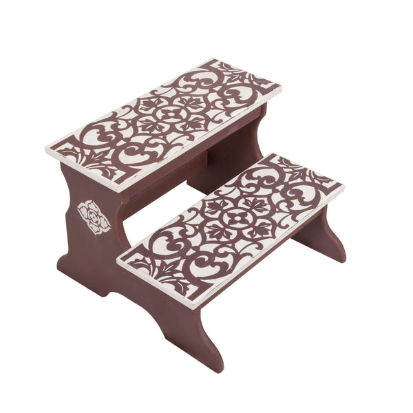 Floral Oriental Two Step Stool for Kids