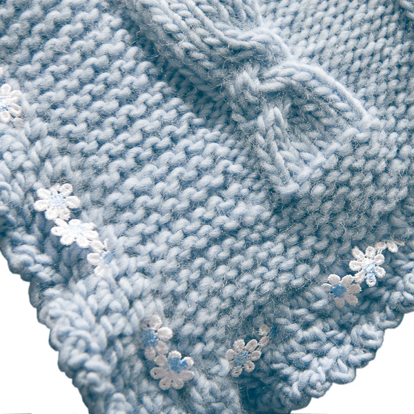 Organic Wool Baby Blanket Blue