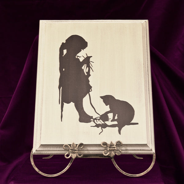 Wall Picture, Silhouette of Knitting Girl