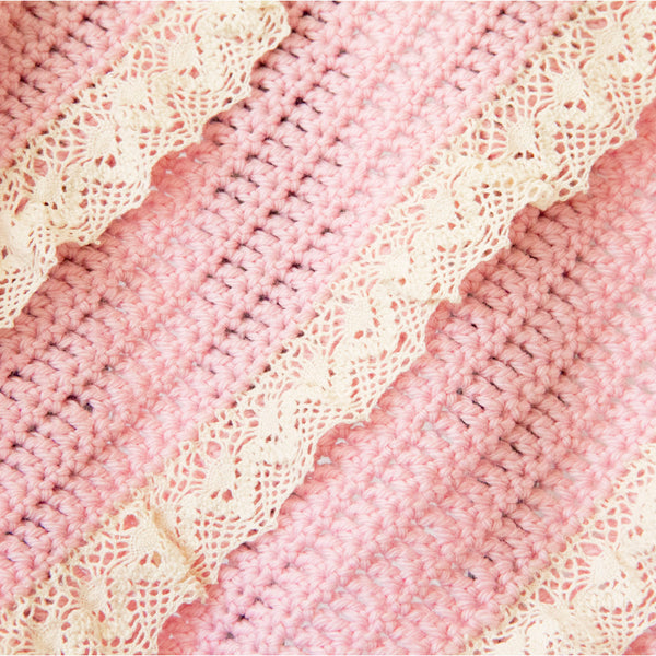 Wool Baby Blanket with Cotton Lace