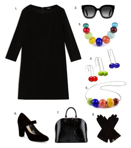 simple black dress+bold colorful jewelry=WOW