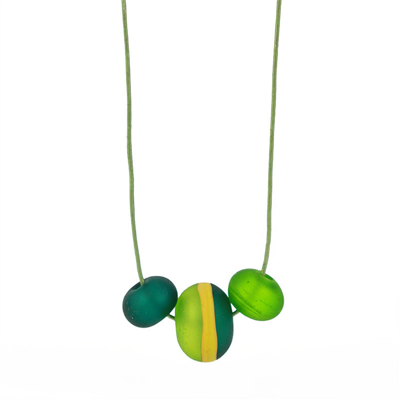 Soft stripes trio necklace -greens and ochre