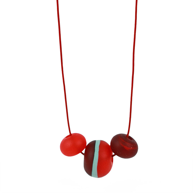 Soft stripes trio necklace -red, orange and blue