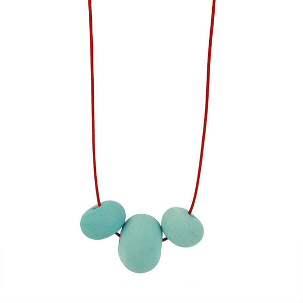 Bubble bead trio necklace -soft blue